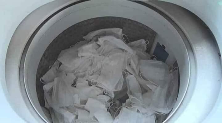 Masker bekas di cuci ulang
